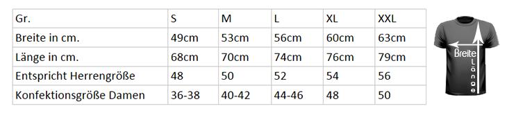 Hier die Größentabelle für unsere T-Shirts. Einfach ausmessen welche Größe Sie benötigen.