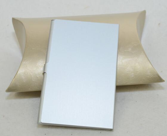 Alu Visitenkartenetui / Etui silber für ca. 12 Karten inkl. Geschenketui