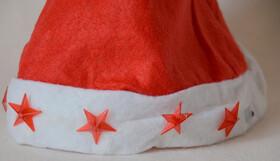 Weihnachtsmütze mit blinkenden Sternen inkl. Batterien / Einheitsgröße