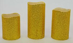 LED Echtwachskerzen im 3er Set Gold