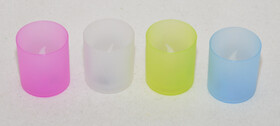 4er Set LED Teelichter im Kunststoffglas in verschiedenen Farben