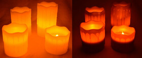 LED Echtwachskerzen 4er Set mit Fernbedienung in...