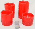 LED Echtwachskerzen 4er Set mit Fernbedienung in weiß oder rot