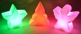 LED Weihnachtslichter 3er Set Engel, Weihnachtsbaum und Stern mit Farbwechsel