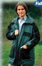 Fisherman Jacket / lange Jacke von Behr atmungsaktiv mit Kapuze Gr. M