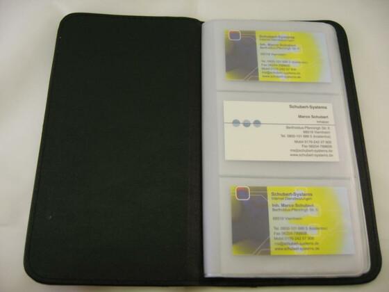 Visitenkartenmappe für 72 Visitenkarten aus Kunstleder sehr edel und hochwertig