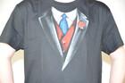 T-Shirt Smoking mit Krawatte und Weste in Gr. S-XXL