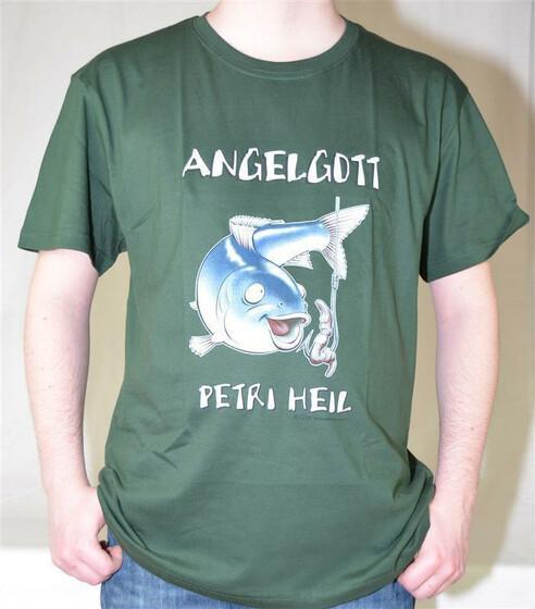 T-Shirt Angelgott - Petri Heil mit Fisch und Haken als Motiv Gr. S-XXL