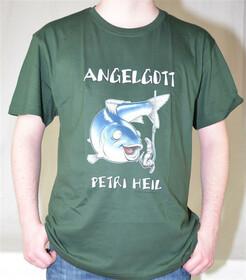 T-Shirt Angelgott - Petri Heil mit Fisch und Haken als...