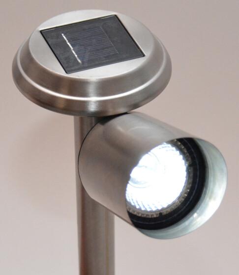 Solar LED Gartenleuchte mit 3 Power LEDs aus Edelstahl neigbar
