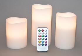 LED Echtwachskerzen 3er Set mit Farbwechsel, Fernbedienung und Timer