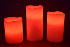 LED Echtwachskerzen 3er Set mit Farbwechsel,...