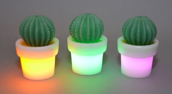 LED Kaktus aus Echtwachs in verschiedenen Farben inkl. Batterie