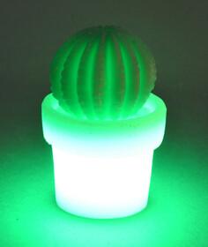 LED Kaktus aus Echtwachs / grün