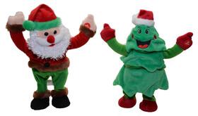 Tanzende und singende Weihnachtsfiguren in verschiedenen...