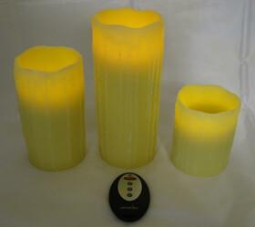 LED-Wachs-Kerzen 3er Set mit Fernbedienung