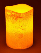 LED Echtwachskerze Gold mit Flackereffekt 10cm hoch