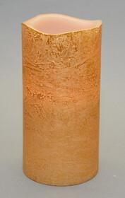LED Echtwachskerze Gold mit Flackereffekt 15cm hoch