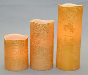 LED Echtwachskerzen 3er Set Gold mit Flackereffekt...