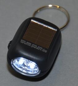 Mini Solar LED Taschenlampe mit 2 Power LEDs sowie Dynamo und Schlüsselring
