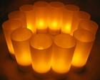 12er Set LED Akku-Teelichter mit Gläsern & Ladestation