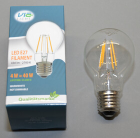 LED Filament Fadenlampe E27 / 4 Watt 430 Lumen 2700k...