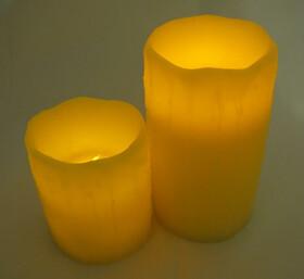 2 x LED-Wachs-Kerze mit Luftzug-Sensor aus Echtwachs