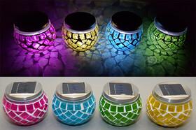 Solar LED Mosaik Leuchte mit Dämmerungssensor in vier verschiedenen Farben