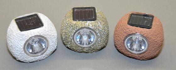 Solar LED Leuchtsteine Deko-Steine für den Garten in drei verschiedenen Farben