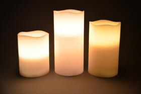 LED Echtwachskerzen 3er Set mit Fernbedienung div. Farben und Funktionen