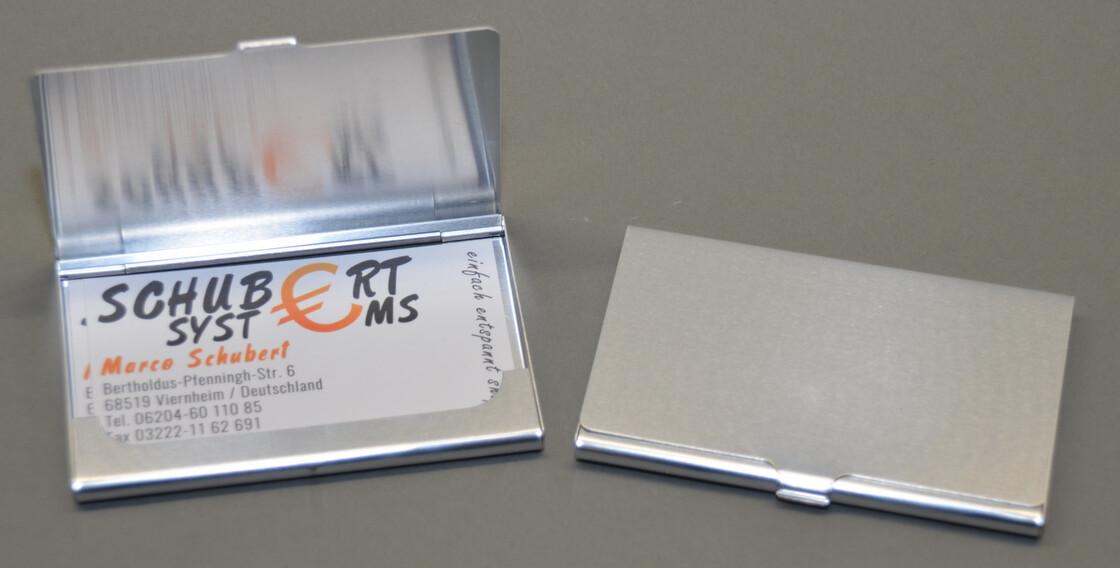 2er Doppelpackung Visitenkartenetuis aus Aluminium superleicht je 10-15 Karten