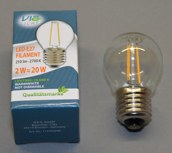 LED Filament Fadenlampe E27 Mini Globe / 2 Watt 210 Lumen 2700k warmweiß