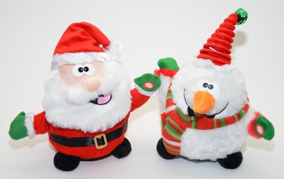 Singende und tanzende Weihnachtsfiguren in zwei Sorten komplett mit Batterien