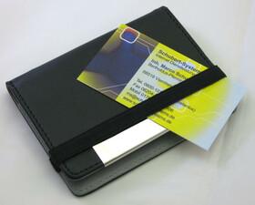 Visitenkartenetui grau/schwarz aus Kunstleder f. 18 Stck
