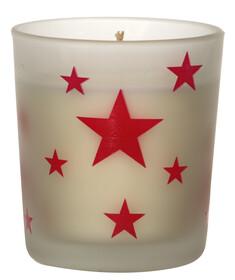 Duftkerze Vanille-Zimt in einem schönen Glas mit...