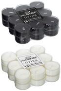 18er Packung Duftteelichter Black and White je ca. 4 Stunden Brenndauer