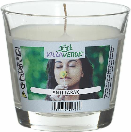 Anti Tabak Duftkerze Anti Rauch Kerze im Glas 9cm Durchmesser Höhe 8cm