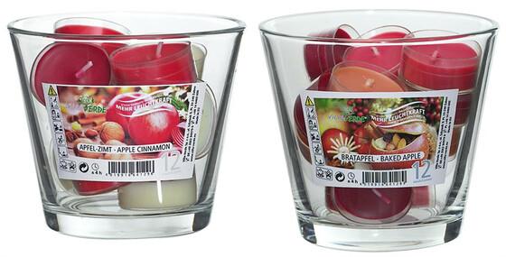 12 Teelichter mit Duft Bratapfel oder Apfel-Zimt komplett mit Glas