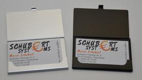 2er Set Visitenkartenetuis Black & White aus Aluminium für bis zu je 12 Visitenkarten