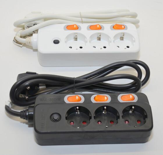 Steckdosenleiste 3-fach einzeln schaltbar schwarz oder weiß mit Überlastschutz
