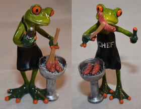 Frosch mit Grill und Grillschürze in zwei...