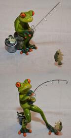 Frosch als Angler mit Rute Fisch und Eimer ca. 16cm in...