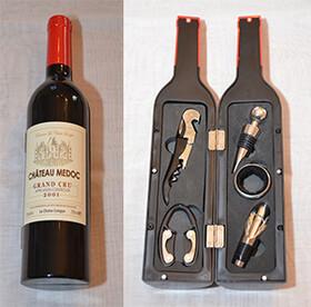 Weinflasche als Geschenkset mit fünf nützlichen...
