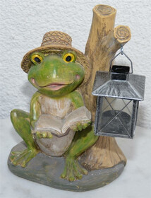 Frosch mit Laterne und Buch sitzend 28cm Höhe...