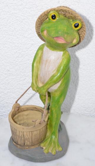 Frosch mit Eimer 40cm Höhe wetterfest für den Garten