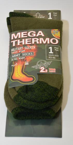 Mega Thermo Socken im Army Style / grün Gr. 47-50