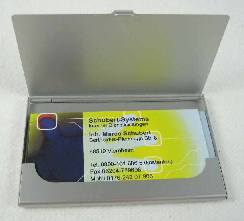 12 Karten im Hamsterpack 5x Alu Visitenkartenetui Etui silber für ca