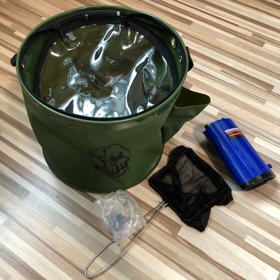 Köderfischbehälter faltbar 9 Liter Volumen mit Sauerstoffpumpe unbekannter Fehler