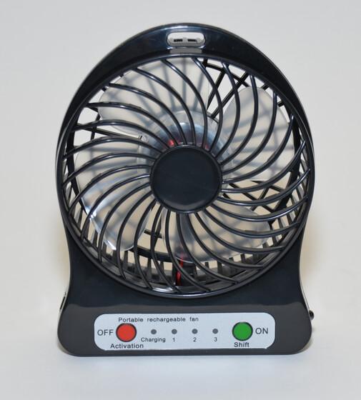 Tischventilator drei Stufen mit Akku & USB Ladekabel für bis zu 8 Std. Betrieb