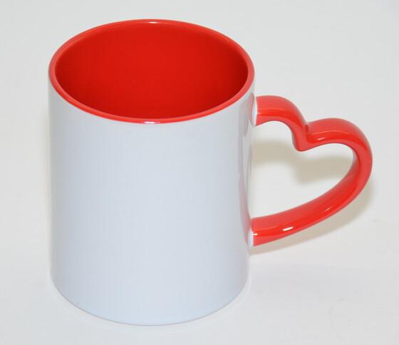 Kaffeetasse 300ml aus Keramik mit herzförmigem Griff ideal für Sublimationsdruck geeignet